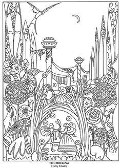 Free coloring page printables Dover Publications fairy kingdom fairy tale castle Dover Coloring Pages, Colouring Pics, Doodle Coloring, Printable Coloring Pages, Adult Coloring Pages, Coloring Books, Coloring Sheets, Art Nouveau, Fairy Tales
