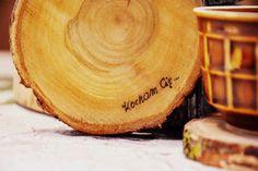 Drewniane podstawki pod kubki,eko; napisy wypalane w KREDKA Pracownia artystyczna na DaWanda.com