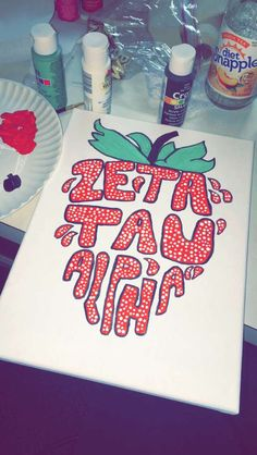 Zeta tau alpha strawberry canvas, change it to a pineapple for ΑΣΑ! Alpha Omicron Pi, Delta Phi, Kappa Kappa Gamma, Pi Beta Phi, Alpha Sigma Alpha, Kappa Delta Canvas, Alpha Phi Omega, Tri Delta, Chi Omega