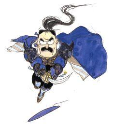 Final Fantasy VI - Cyan [Chibi] Concept Art - Yoshitaka Amano