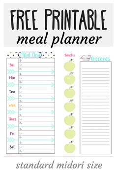 meal planner. The perfect size for your traveler's notebook or midori ...