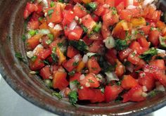 fresh pico de gallo/salsa recipe. Use tomato from the vine. I skipped the jalapeño, doubled the lime and added a tablespoon of chili paste. Serve with quesadilla stuffed w cheese and mashed avocado. We loved it!