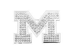 P51Z1742 - X-Large University of Michigan White Crystal Pin by Beliza Design