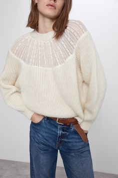 New clothes and accessories updated weekly at ZARA online. Stay in style with seasonal trends. Cardigan En Maille, Shawl Collar Cardigan, Knit Cardigan, Online Zara, Lace Sweater, Knitwear Fashion, Winter Wear, Fashion 2020, Sweater Weather
