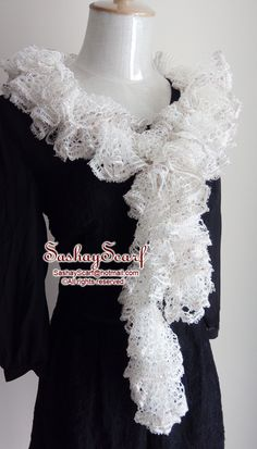27.00$  Watch now - http://vihjh.justgood.pw/vig/item.php?t=573pf8a453 - White Seliver Sequins Crochet Scarf Ruffle Scarf Crochet Scarf Ruffle A038 27.00$