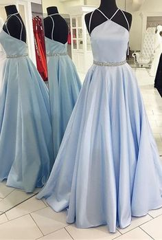 Custom Made Charming Prom Dress, 2017 Formal Dress, Halter Satin Prom