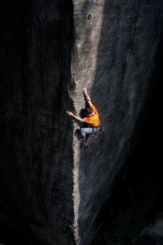 Climbing | Climbing a beam of sunlight | Saxon Alps, Germany