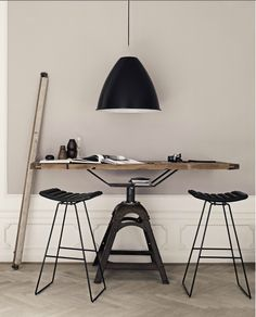 Industrial style in this work nook   Work space.