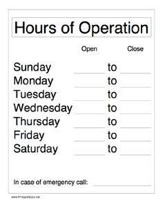 This printable sign lets business owners and management announce their hours of operation. Free to download and print