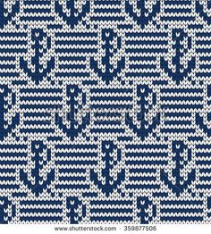 Knitted marine seamless pattern