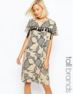 Vero Moda Tall Printed T-Shirt Dress With Tassel Detail. This is oddly different and I like it.