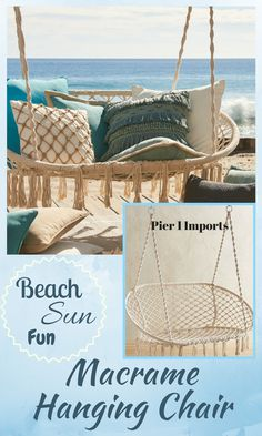 The easy-living leisure of a hammock meets the freewheeling fun of a swing in this handcrafted extra-large saucer chair. Its sturdy, wrought iron frame is dressed up with ropes that have been knotted macrame-style. #ad #macrame #outdoor #beach