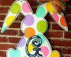 Easter Bunny door hanger, Spring door hanger, Happy Easter, Spring Door Decor, initial door hanger