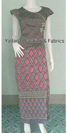 Myanmar Dress Design, Office Blouse, Thai Dress, Fashion Fabric, Traditional Dresses, Blouse Designs, Designer Dresses, High Waisted Skirt, Short Sleeve Dresses