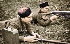 https://flic.kr/p/wyESv4 | Soviet cossacks with PTRS-41 | Original black and white photo can be seen here - img-fotki.yandex.ru/get/6617/89690682.1/0_b9523_df21ce82_...