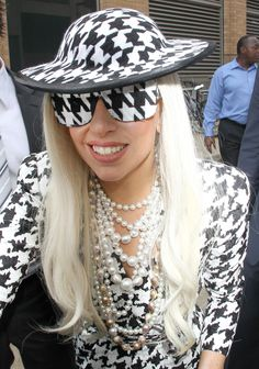 Lady Gaga in Houndstooth sunglasses