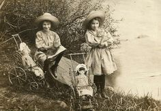 Dolls and cats - Lamoille River, VT - c. 1900 -