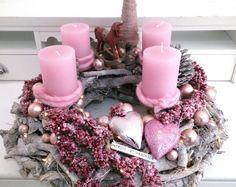 Adventskranz, Advent Weihnachtsdeko, Adventsdeko Hirsch Wurzelholz rosa neu LED