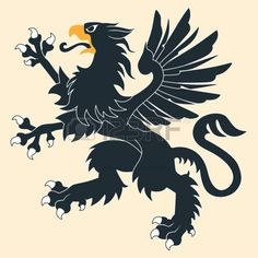 Illustration of Standing Black Heraldic Griffin vector art, clipart and stock vectors. Dog Vector, Vector Art, Griffin Logo, Griffin Tattoo, Harley Quinn Drawing, Cartoon Fish, Little Poney, Banner, Big Animals