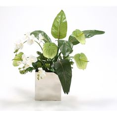 Distinctive Designs Silk Antheriums, Phalaenopsis Orchids, Guzmania Leaves and Skimmia in Nickel Vase Phalaenopsis Orchid, Orchids, Luxury Home Decor, Luxury Homes, Faux Flower Arrangements, Faux Flowers, Home Accessories, Herbs, Place Card Holders
