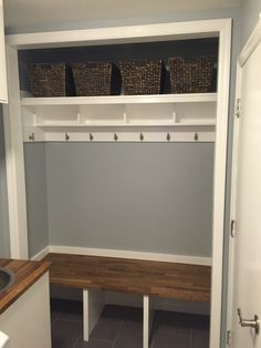 New front closet remodel garage Ideas Closet Bench, Front Hall Closet, Closet Redo, Hallway Closet, Closet Remodel, Closet Bedroom, Bedroom Storage, Closet To Mudroom, Closet Ideas