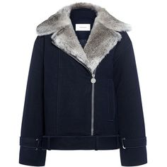 Carven - Fur-Trim Moto Jacket (2 550 PLN) ❤ liked on Polyvore featuring outerwear, jackets, coats, coats & jackets, tops, blue wool jacket, carven jacket, asymmetrical zipper jacket, wool motorcycle jacket and moto jacket