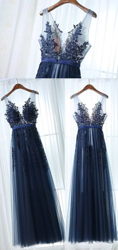 Simple Prom Dress,A Line Sleeveless Dark Navy Prom Dress,Applique Long Prom Dresses,Evening Dresses,Long Prom Dress,2017 Bridesmaid Dress