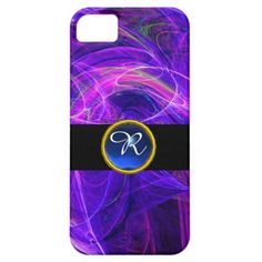 CRAZY PHOTON BLUE SAPPHIRE GEM STONE MONOGRAM iPhone 5 CASE