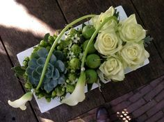 Contemporary floral piece with roses, callas, succulents Contemporary Flower Arrangements, White Flower Arrangements, Floral Centerpieces, Deco Floral, Arte Floral, Floral Design, Fresh Flowers, White Flowers, Beautiful Flowers