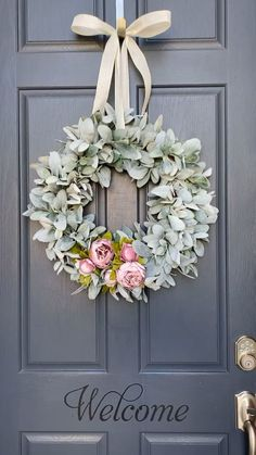 Our lambs ear and peony wreath shown in a light pink peony. We offer bright pink and the light pink in this style. These wreaths make a great statement on your door and create a stunning welcome. decor diy videos Lambs ear and peony wreath Spring Door Wreaths, Easter Wreaths, Summer Wreath, Christmas Wreaths, Double Door Wreaths, Christmas Ribbon, Primitive Christmas, Father Christmas, Country Christmas