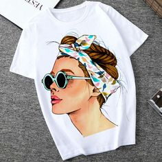 Plus Size Women Summer Vogue Print Lady Casual T-shirt Tops Harajuku Streetwear Short Sleeve O-Neck Tops Tees Camisetas Mujer Pants For Women, T Shirts For Women, Clothes For Women, Babies Clothes, Kids Clothing, Clothing Apparel, Clothing Accessories, Streetwear Shorts, Beanie Hats For Women