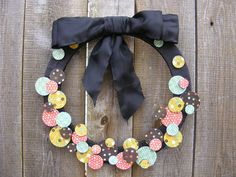 mod podge, chip board and scrapbook paper wreath