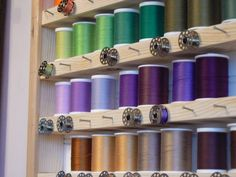 What a great idea for bobbins and thread!  Alicia After 30: Sewing Room Organization Ideas. Thread and bobbin.