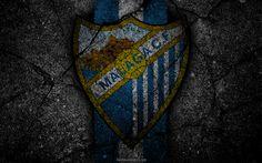 壁紙をダウンロードする マラガ, ロゴ, 美術, リーガ, サッカー, サッカークラブ, LaLiga, グランジ, マラガのFC