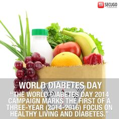 """""""THE WORLD DIABETES DAY 2014 CAMPAIGN MARKS THE FIRST OF A THREE-YEAR (2014-2016) FOCUS ON HEALTHY LIVING AND DIABETES."""""""