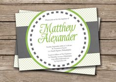 Modern Baptism Party Invitation Christening Invitation Baby Boy Baptism Invitation Green Gray DIY Digital or Printed - Matthew style Baby Boy Baptism, Baptism Party, Baby Christening, Baptism Ideas, Christening Invitations, Party Invitations, Invites, Communion, Elephant Party