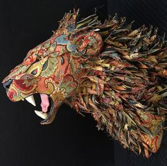 Wisconsin-based artist Kelly Jelinek of Little Stag Studio combines her lifelong fascination with taxidermy and love of old upholstery to create fantastic works of faux taxidermy that look like animals from fairytale lands, from impossibly colorful lions, deer, and dinosaurs to much smaller creatures like chinchillas and armadillos.