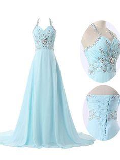 Light sky blue prom dress,2016 A-line Chiffon Straps Sweep Brush Train Chiffon Evening Dress Prom Dresses SP8489