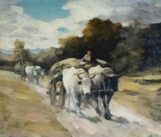 Nicolae Grigorescu is considered one of the most appreciated Romanian painters - 'Bull Cart' Art History Major, Impressionist Artists, Vintage Wall Art, Famous Artists, Art World, Pet Birds, New Art, Modern Art, Contemporary