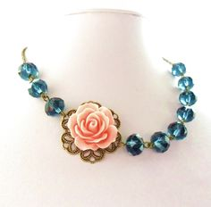 Navy & Coral Wedding Jewelry, Navy and Coral Necklace, Navy Coral Bridesmaids Gift, Navy and Pink Bridal Flower Collar,  Pink Rose by RoseUltra on Etsy https://www.etsy.com/listing/191201131/navy-coral-wedding-jewelry-navy-and