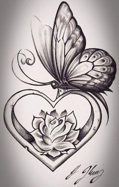 coração com a flor..pensei na minha mão