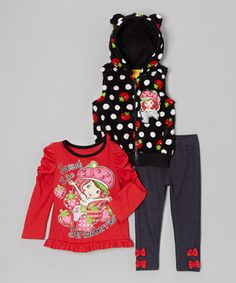 Look at this #zulilyfind! Black Sweet Strawberry Pants Set - Infant, Toddler & Girls by Strawberry Shortcake #zulilyfinds