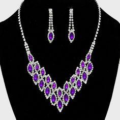 Beautiful Bridal/Prom SILVER & PURPLE Rhinestone Costume Necklace/Earring Set