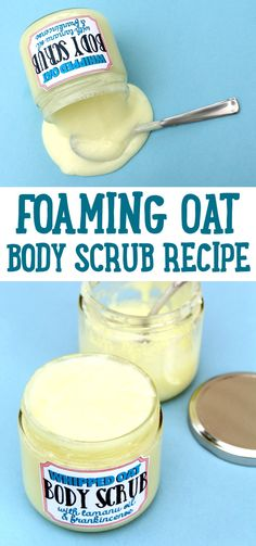 Oat Body Scrub Recipe! This foaming oat body scrub recipe is homemade with skin soothing oat butter, tamanu oil and frankincense essential oil. Both frankincense and tamanu oil are purported to have anti-aging skin care properties and are therefore used in a variety of products that help to diminish the appearance of fine lines and wrinkles. Use it this summer in place of your usual body wash!
