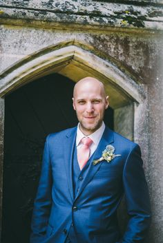 Reiss Suit Blue Groom Blush Peach Tie Home Made Country Festival Wedding http://www.jamespowellphotography.co.uk/