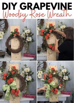 DIY Grapevine Rose Wreath - Kelea's Florals Wreath Hanger, Diy Wreath, Grapevine Wreath, Bunch Of Flowers, White Flowers, Christmas Diy, Christmas Wreaths, Three Roses, Magnolia Wreath