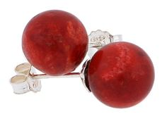 Sterling Silver Natural Red Coral Ball Stud Earrings - Wholesale Afford Price: Contact Us