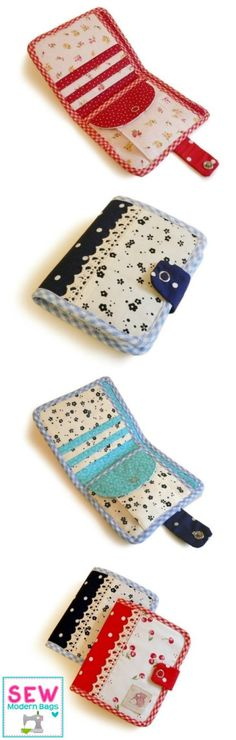 The cutest and most perfect sewing pattern for a bi-fold wallet. Has everything you need, card slots, bill compartment, coin purse - and it looks so pretty too!