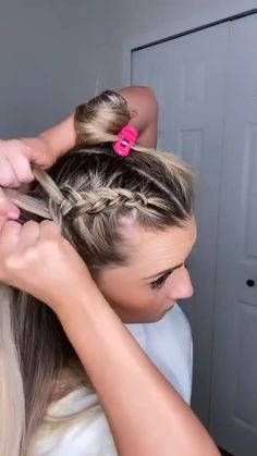 Hair Tutorials For Medium Hair, Cute Hairstyles For Medium Hair, Curly Hair Tips, Braids For Long Hair, Braided Hairstyles, Curly Hair Styles, Volleyball Hairstyles, Hair Upstyles, Hair Videos