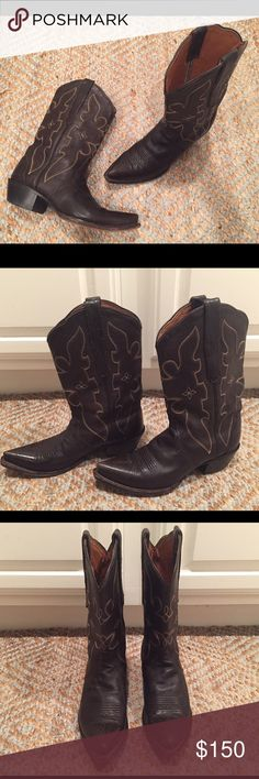 Dark Brown Leather Nocona Cowboy Boots 7 🐴❤ Beautiful dark chocolate brown leather women's Nocona cowboy boots, size 7. Made in Mexico. Show signs of normal wear, but still a lot of life in these gorgeous boots! Nocona Shoes Combat & Moto Boots